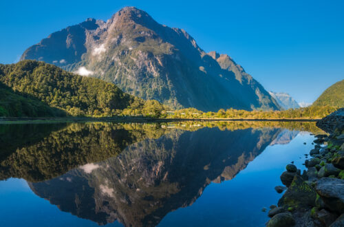 Mountain View Reflections in Water at Milford Sound
