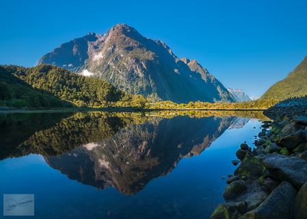 Freshwater Basin in Milford Sound, a fjord in New Zealand, South Island.