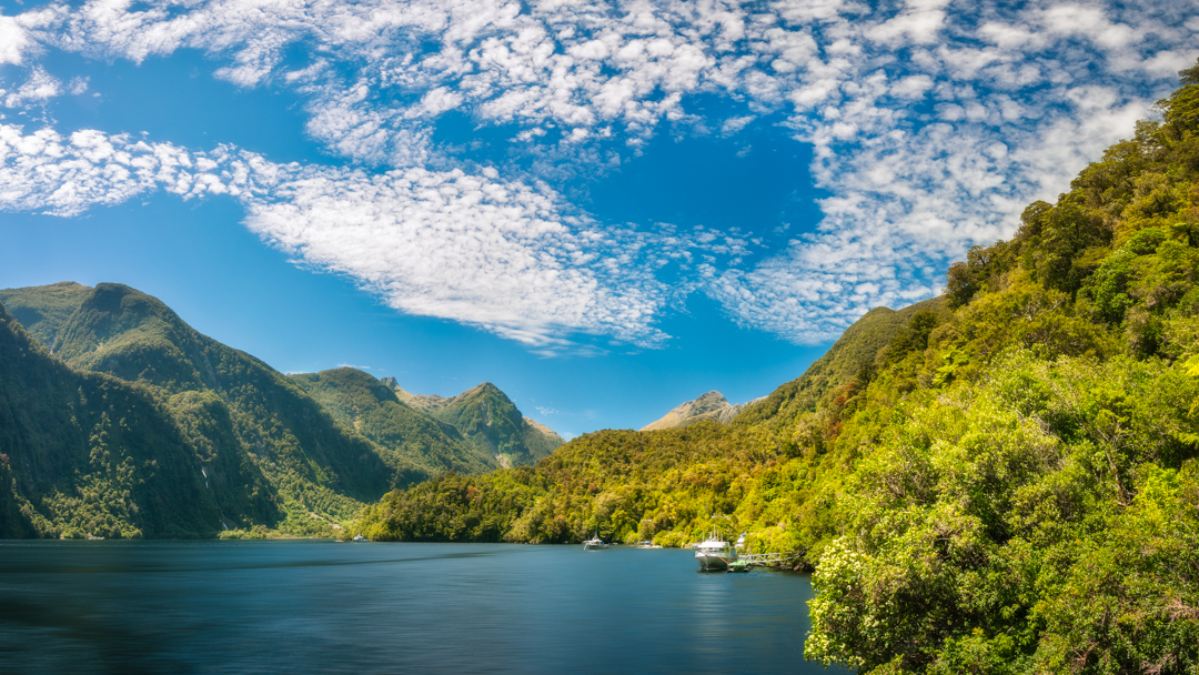 Deep Cove with the Shipping Docks and the Mountain Tops in the fjord at Doubtful Sound in New Zealand