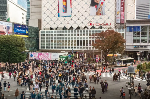 Shibuya Crossing in Tokyo, Japan, one of the busiest intersections in the world